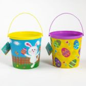 24 Units of Easter Bucket W/lenticular Effct 2ast Eggs In Grass Design - Easter