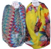 240 Units of Womens Fashion Infinit Scarf Assorted Pattern - Womens Fashion Scarves