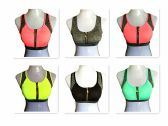 120 Units of Womens Zip Front Sports Bra Medium Support Wirefree Racerback Active Yoga Sports Bra - Womens Bras And Bra Sets