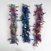 48 Units of Garland Easter Tinsel 9ft 3ast Color/1 Style Easter Hdr W/holographic Icons - Easter