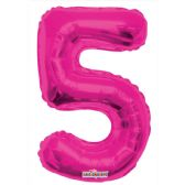 30 Units of Thirty Four Inch Pink Balloon Number Five - Balloons & Balloon Holder