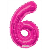 30 Units of Thirty Four Inch Pink Balloon Number Six - Balloons & Balloon Holder