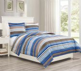12 Units of 2 Pieces Mini Set In Twin - Blue Stripes Design - Comforters & Bed Sets