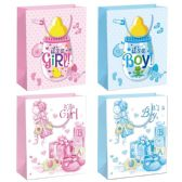 144 Units of Baby Bag Glitter Large - Gift Bags Baby