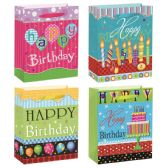 144 Units of Birthday Bag Glitter Large - Gift Bags Assorted