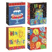 72 Units of Birthday Bag Glitter - Gift Bags Assorted