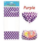96 Units of Twenty Count Polka Dot Loot Bag Purple - Party Favors