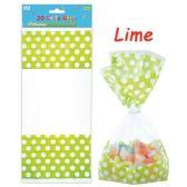 96 Units of Twenty Count Polka Dot Loot Bag Lime - Party Favors