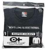 24 Units of Men's Black Heavyweight Thermal Top, Size 3XL - Mens Thermals