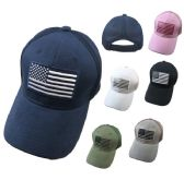 48 Units of Solid Color Hat-Soft Jersey Mesh Back with Embroidered Flag - Baseball Caps & Snap Backs