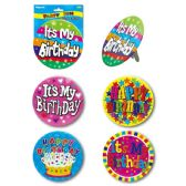 96 Units of Birthday Badge Assorted - Party Favors