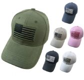 24 Units of Solid Color Hat with Embroidered Flag - Baseball Caps & Snap Backs