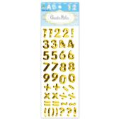 144 Units of Shiny Stickers Numbers Gold - Stickers