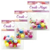 96 Units of Beads Assorted Three Designs With Elastic - Craft Beads