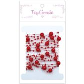 96 Units of Pearl Garland Red Ten Feet - Craft Beads