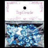 96 Units of Acrylic Rhinestone Bow Blue - Craft Beads