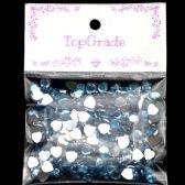 96 Units of Rhinestone Heart Sticker Light Blue - Craft Beads