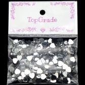 96 Units of Rhinestone Heart Sticker White - Craft Beads