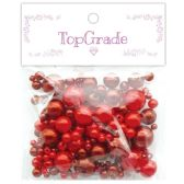 96 Units of Two Hundred Piece Pearl In Red - Craft Beads