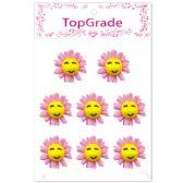 96 Units of Foam Flower In Pink - Stickers