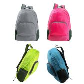 "24 Units of 17"" Ultra Lightweight Foldable Backpack in 4 Assorted Color - Backpacks 17"""