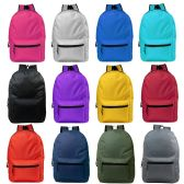 "24 Units of 19"" Basic Backpacks in 12 Assorted Colors - Backpacks 18"" or Larger"