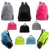 "24 Units of 17"" Wholesale Ultra Lightweight Foldable Backpack in 5 Assorted Colors - Backpacks 17"""