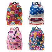 "24 Units of 17"" Kids Classic Padded Backpacks in 4 Assorted Unique Prints - Backpacks 17"""