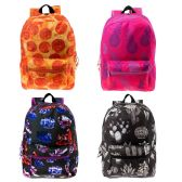 "24 Units of 17"" Kids Classic Padded Backpacks in 4 Assorted Unique Print - Backpacks 17"""