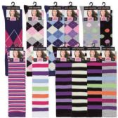 120 Units of Womens 9-11 Assorted Color And Prints Knee High Uniform Socks - Womens Knee Highs