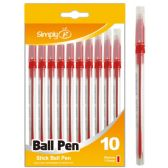 96 Units of Ten Count Stick Ballpoint Pens Red - Pens