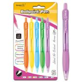 96 Units of Six Count Retractable Ballpoint Pen Assorted Color With Grip - Pens