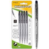 96 Units of Four Count Click Ballpoint Pen Black - Pens