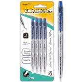 96 Units of Four Count Click Ballpoint Pen Blue - Pens