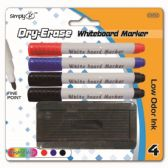 96 Units of Four Piece dry erase marker assorted colors With Eraser - Markers and Highlighters