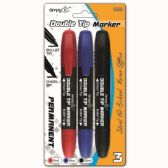 96 Units of Three Piece Permanent Markers Double Tip Assorted - Markers and Highlighters