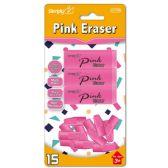 144 Units of Fifteen Pack Pink Eraser Set - Erasers