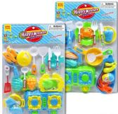 9 Units of 19 Piece Blue Happy Kitchen Play Sets - Toy Sets