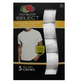 12 Units of Men's 5 Pack Fruit Of the loom White Crew Neck T-Shirt , Size 2XL - Mens T-Shirts