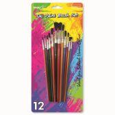 96 Units of Twelve Piece Paint Brush Set - Paint, Brushes & Finger Paint