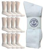 12 Units of SOCKSNBULK Mens Wholesale Crew Socks, Cotton Basic Wear Size 10-13, White - Mens Crew Socks