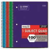 96 Units of Quad Ruled Spiral Notebook - Notebooks