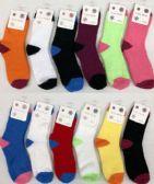 120 Units of Women Solid Color Fuzzy Socks Size 9-11 - Womens Fuzzy Socks