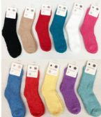 360 Units of Women Solid Color Fuzzy Socks Size 9-11 - Womens Fuzzy Socks