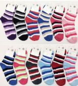 120 Units of Women Stripe Color Fuzzy Socks With Gripper Bottom Size 9-11 - Womens Fuzzy Socks