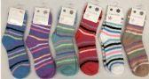 180 Units of Women Stripe Color Fuzzy Socks Size 9-11 - Womens Fuzzy Socks