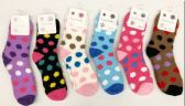 120 Units of Women Polka Dot Pattern Fuzzy Socks Size 9-11 - Womens Fuzzy Socks