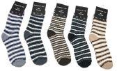 180 Units of Mens Stripe Color Fuzzy Socks - Men's Fuzzy Socks