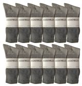 12 Units of SOCKSNBULK Men's classic crew socks with full cushion cotton blend, gray, sock size King Size 13-16 - Big And Tall Mens Crew Socks