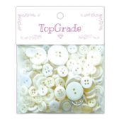 96 Units of Buttons Assorted Sizes And White - Sewing Supplies